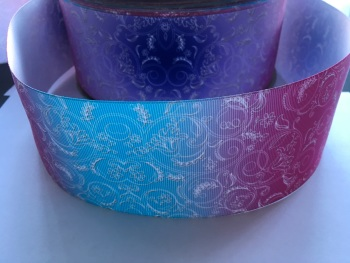 Floral Swirl on Ombre Grosgrain Ribbon