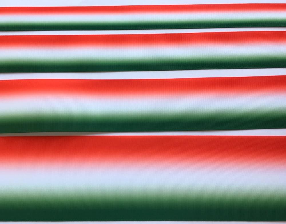 Green/White/Red Ombre Grosgrain Ribbon
