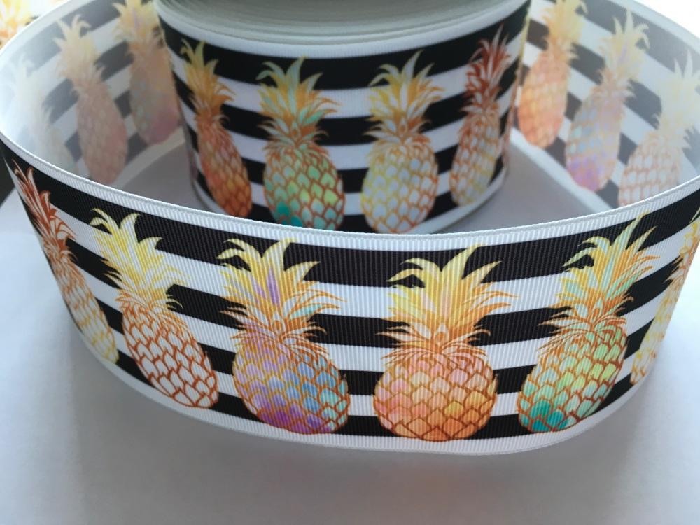 Pineapples on Black & White Stripe Grosgrain Ribbon