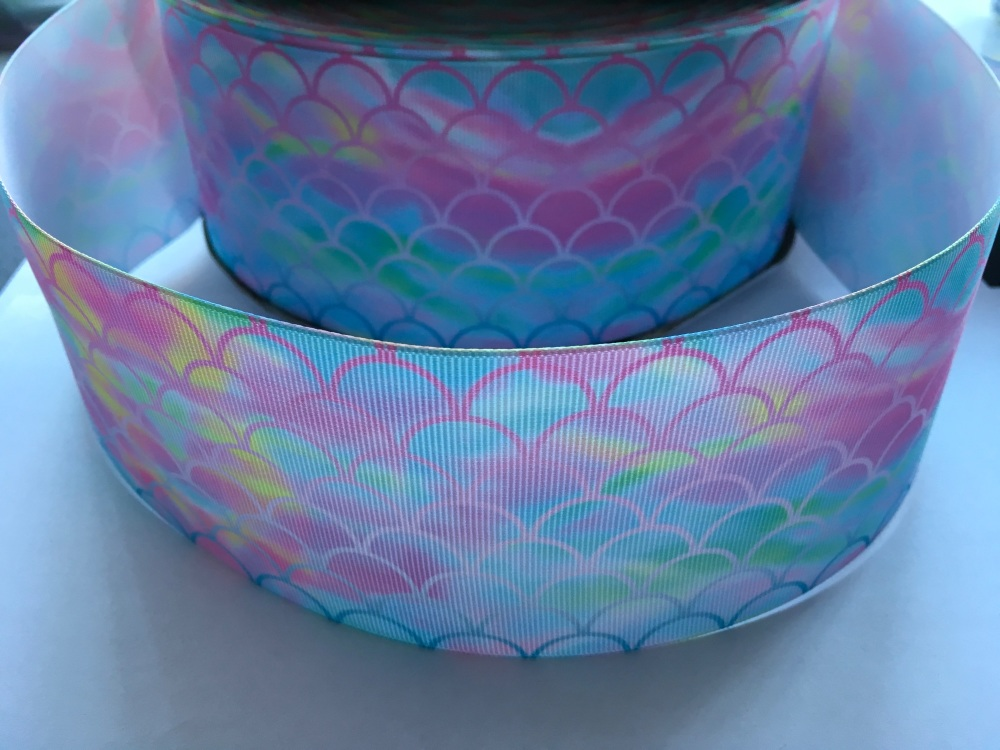 Pink to Blue Scale on Ombre Grosgrain Ribbon
