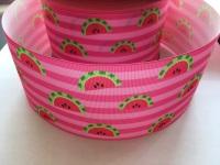 Watermelon on Pink Stripe Grosgrain Ribbon