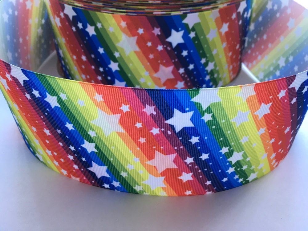 White Stars on Diagonal Rainbow Grosgrain Ribbon