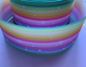 White Stars on Pastel Rainbow Grosgrain Ribbon
