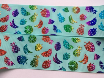 "3"" Laser Fruit Salad on Aqua Grosgrain Ribbon"