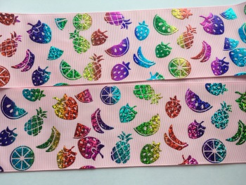 "3"" Laser Fruit Salad on Pearl Pink Grosgrain Ribbon"