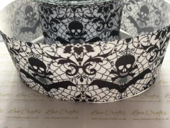 Black Skull Grosgrain Ribbon