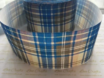 Blue Tartan Grosgrain Ribbon
