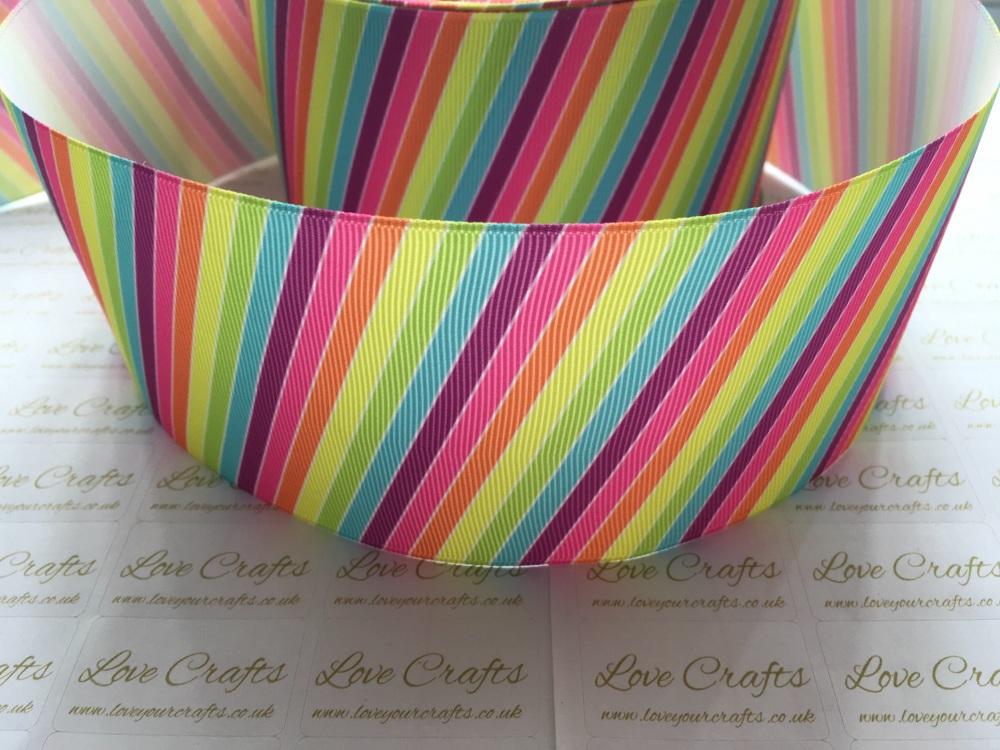 Diagonal Rainbow Stripes Grosgrain Ribbon