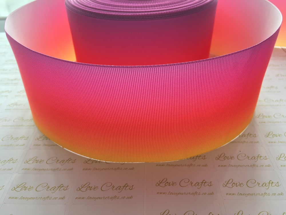 Pink/Orange/Yellow Ombre Grosgrain Ribbon