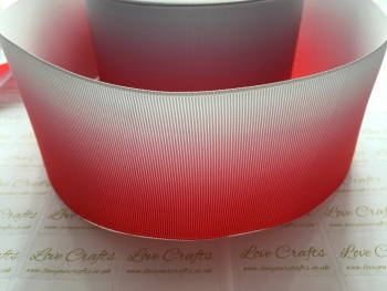 Poppy Red/Shell Grey Ombre Grosgrain Ribbon