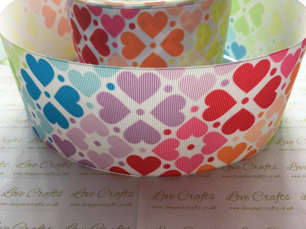 Rainbow Hearts Grosgrain Ribbon