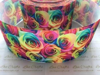 Rainbow Rose Grosgrain Ribbon