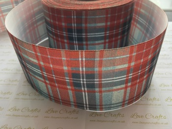 Red/Blue Tartan Grosgrain Ribbon