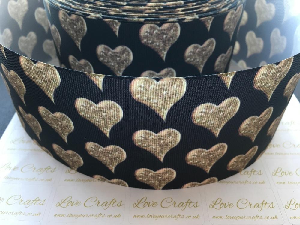 Gold Hearts on Black Grosgrain Ribbon