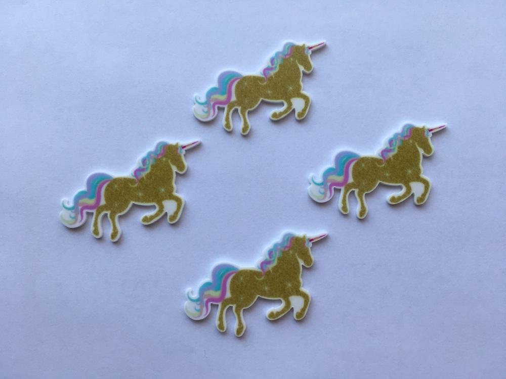 Gold Pastel Unicorn Laser Resin