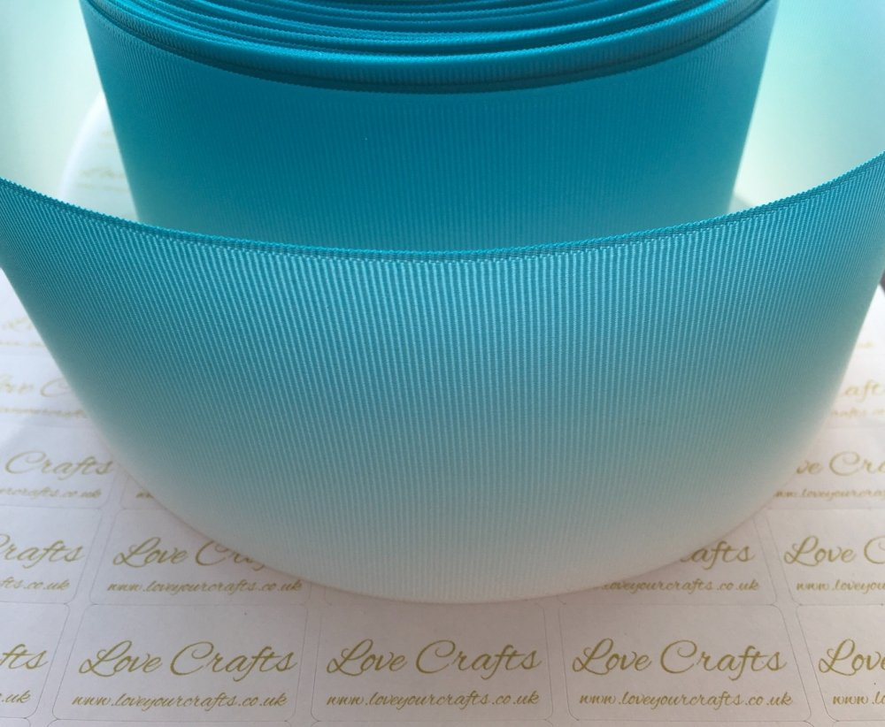 Misty Turquoise Ombre Grosgrain Ribbon