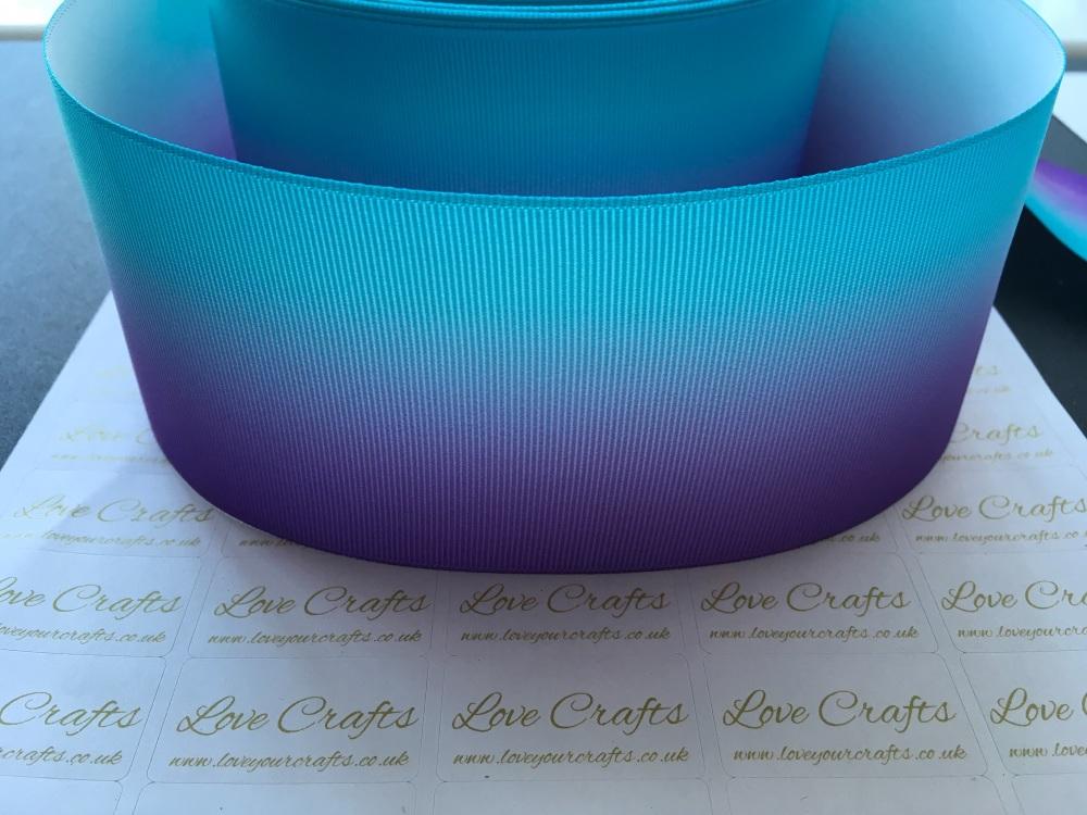 Purple/Turquoise Ombre Grosgrain Ribbon