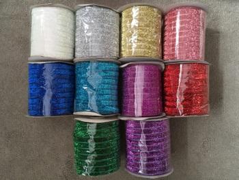 """3/8"""" Metallic Glitter Velvet Ribbon"""