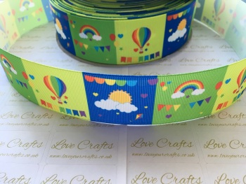 "1.5"" Balloons, Rainbows & Sunshine Grosgrain Ribbon"