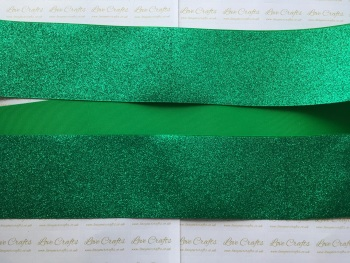 "3"" Green Glitter Grosgrain Ribbon"