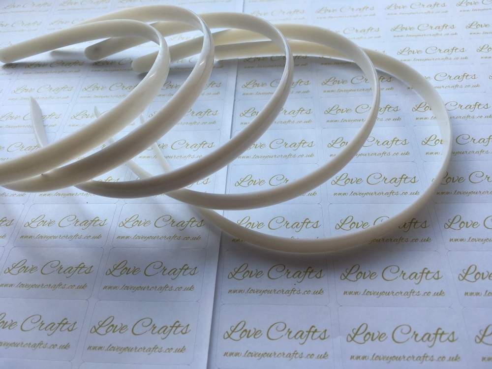 5x White Plastic Weaving Headbands 10mm