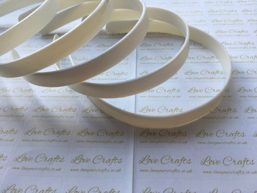 5x White Plastic Weaving Headbands 15mm