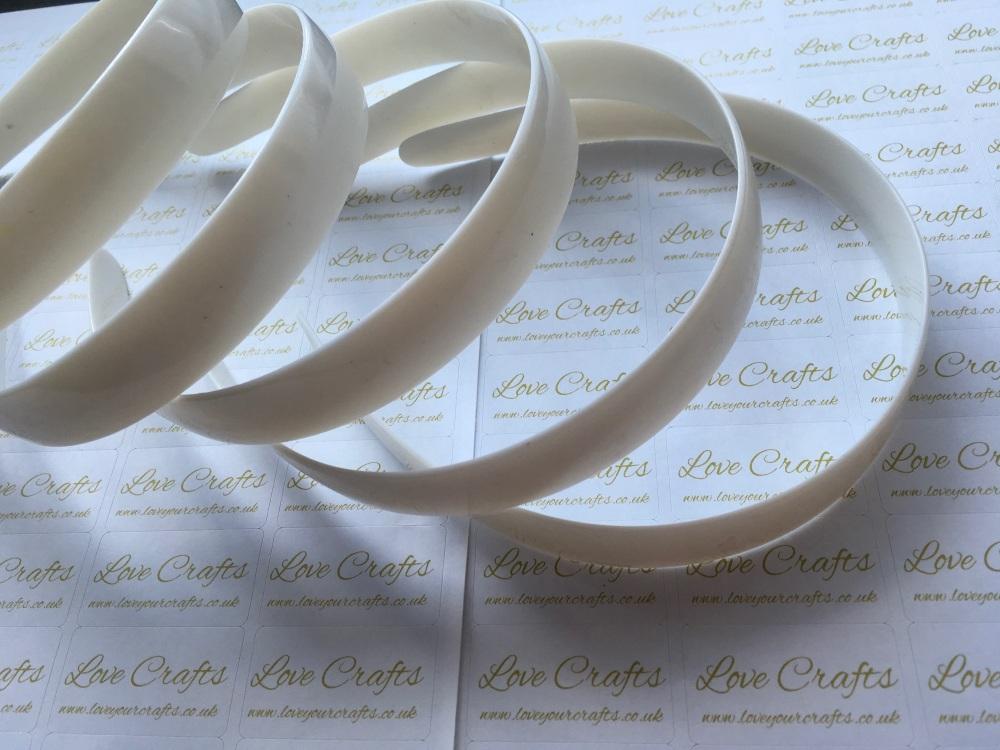 5x White Plastic Weaving Headbands 20mm