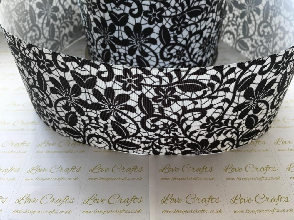 Black Floral Grosgrain Ribbon