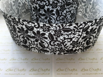 Black Floral Grosgrain Ribbon