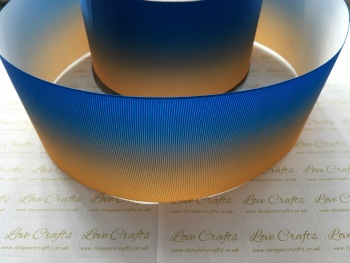 Electric Blue/Gold Ombre Grosgrain Ribbon