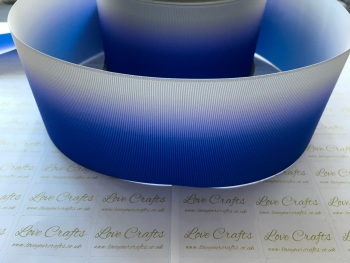 Electric Blue/Shell Grey Ombre Grosgrain Ribbon