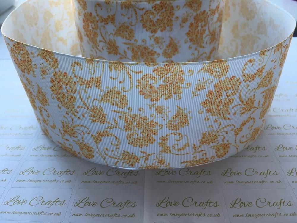 Gold Floral Grosgrain Ribbon