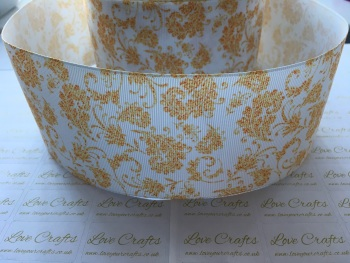 Gold Floral Grosgrain Ribbon