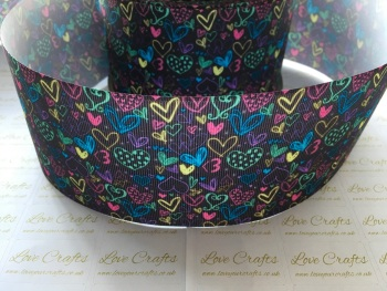 Graffiti Hearts Grosgrain Ribbon