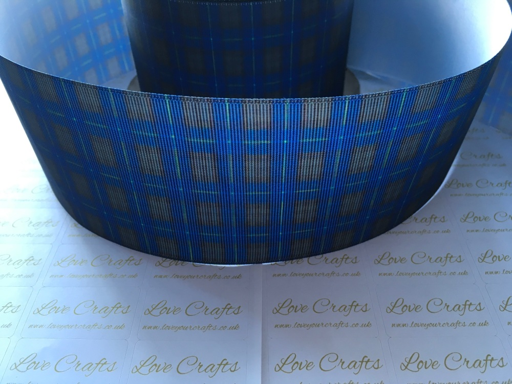 New Blue Tartan Grosgrain Ribbon