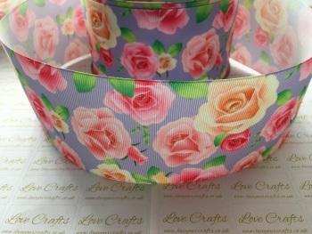 Roses on Light Orchid Grosgrain Ribbon