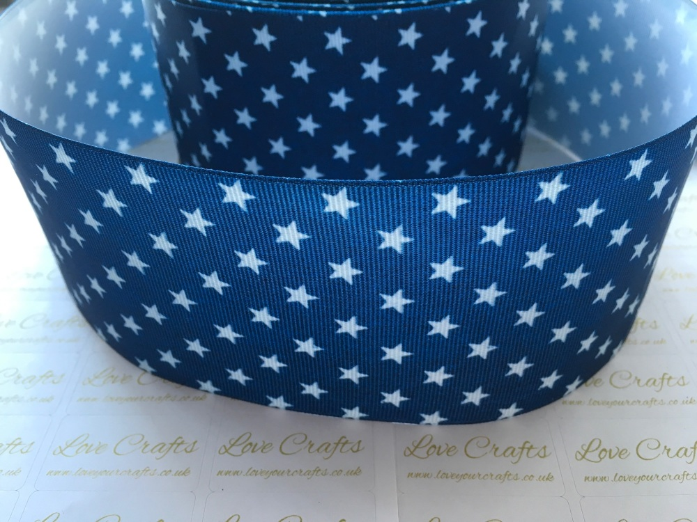 White Stars on Light Navy Grosgrain Ribbon