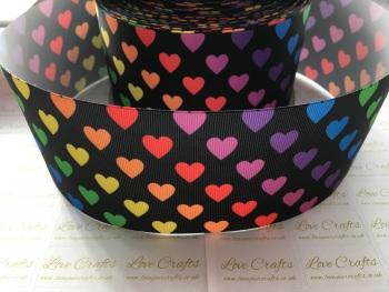 Rainbow Hearts on Black Grosgrain Ribbon