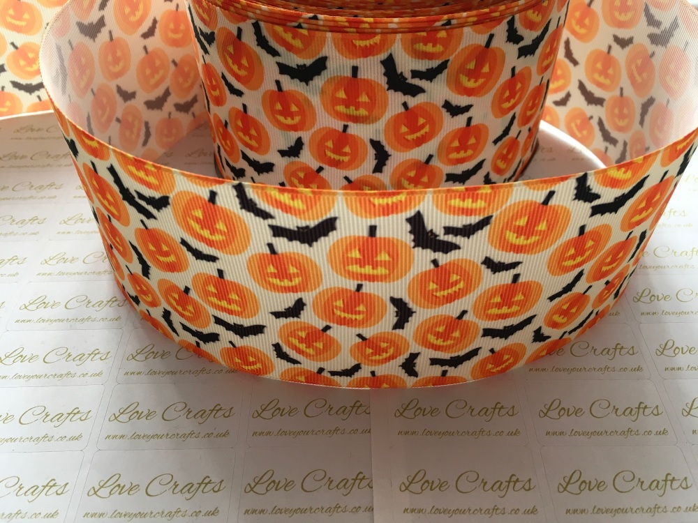 Pumpkins & Bats Grosgrain Ribbon