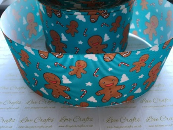 Blue Gingerbread Grosgrain Ribbon