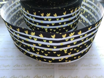 Gold Hearts Grosgrain Ribbon