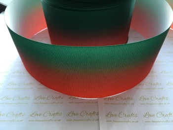 Poppy Red/Forest Green Ombre Grosgrain Ribbon