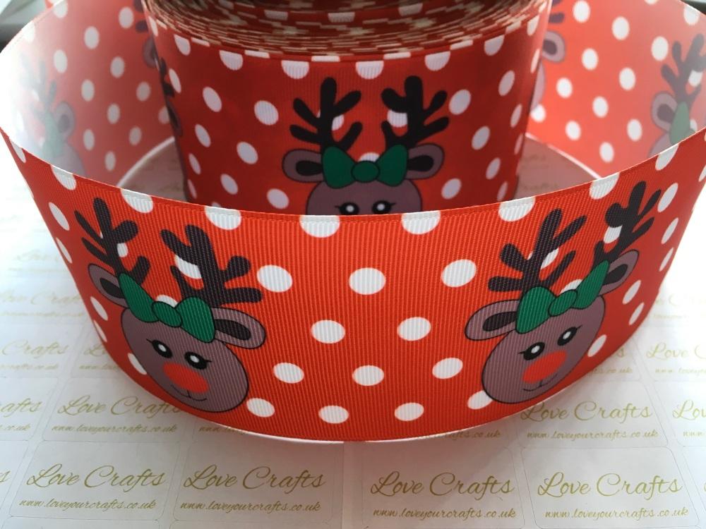 Red Reindeer Grosgrain Ribbon