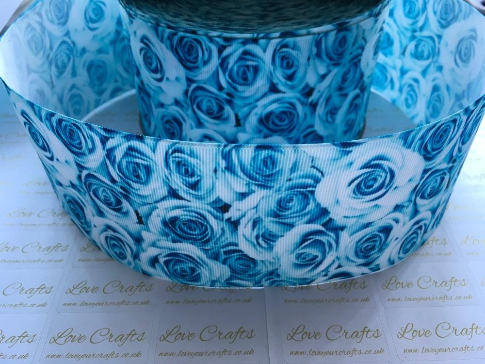 Turquoise Rose Grosgrain Ribbon