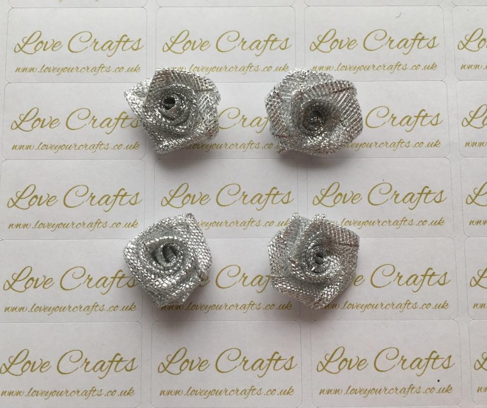 Silver Glitter Roses