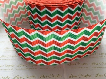 "3"" Red & Green Zig Zag Grosgrain Ribbon"