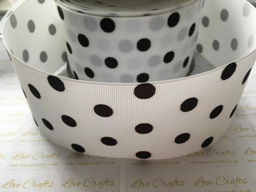 Black Polka Dot on White Grosgrain Ribbon