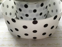Black Polka Dot on White Grosgrain Ribbon