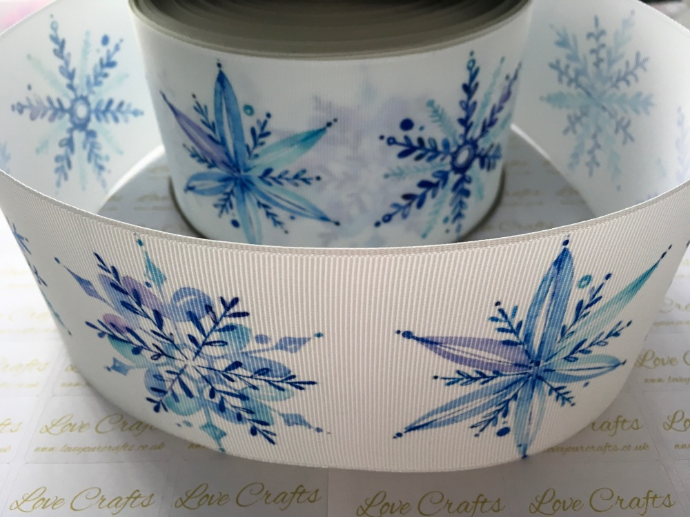 Blue Snowflake Grosgrain Ribbon