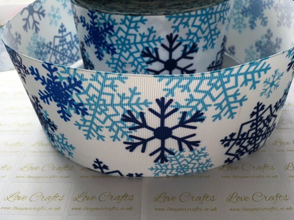 Blue Snowflakes On White Grosgrain Ribbon